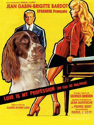 Painting - French Spaniel  - Epagneul Francais Art Canvas Print - Love Is My Profession Movie Poster by Sandra Sij
