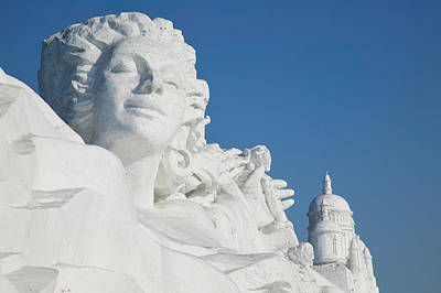 Ice Festival Photograph - French Themed Snow Sculpture By Frozen by Panoramic Images