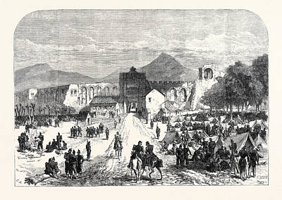 French Troops Encamped Inside The Lateran Gate At Rome Art Print by Italian School