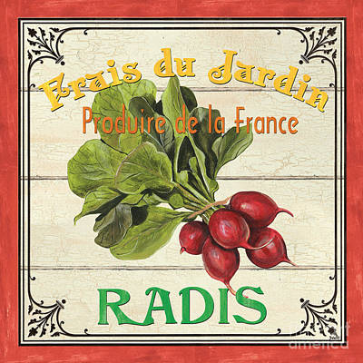 Signed Painting - French Vegetable Sign 1 by Debbie DeWitt