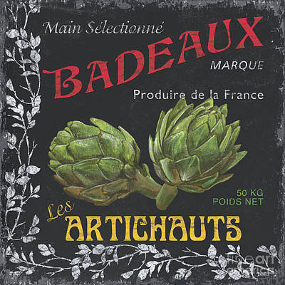 Artichoke Painting - French Veggie Labels 1 by Debbie DeWitt