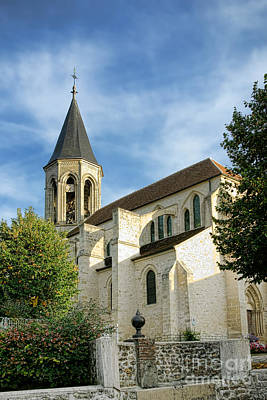 Pointy Photograph - French Village Church by Olivier Le Queinec