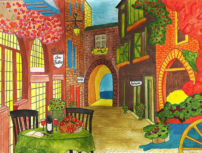 Store Fronts Mixed Media - French Village by Savana Price
