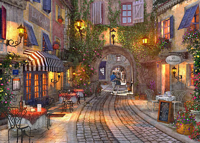 Cafes Drawing - French Walkway by Dominic Davison