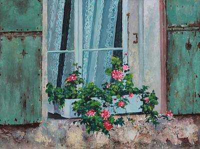 Stiff Painting - French Window Box by Lee Riggs