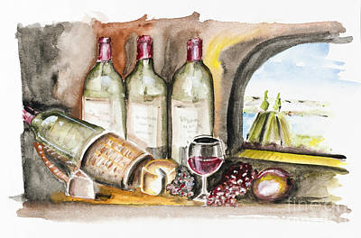 Dessert Wine Painting - French Wine by Irina Gromovaja