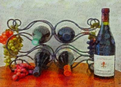 Interior Still Life Painting - French Wine Rack by Dan Sproul