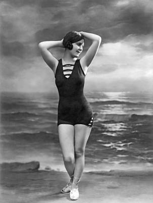 Beach Scenes Photograph - French Woman In A Bathing Suit by Underwood Archives