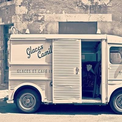 Vintage Wall Art - Photograph - #frenchicecreamtruck #france #icecream by Georgia Fowler