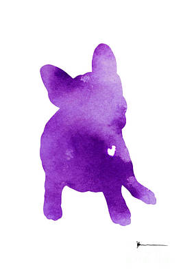 Dog Abstracts Mixed Media - Frenchie Abstract Dog Silhouette by Joanna Szmerdt
