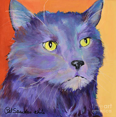 Fat Cat Wall Art - Painting - Frenchy by Pat Saunders-White
