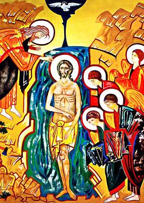 Baptism Painting - Fresco Baptism Of Christ by Munir Alawi