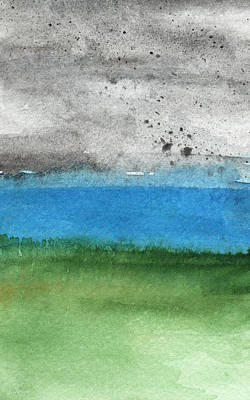 Abstract Landscape Royalty-Free and Rights-Managed Images - Fresh Air- landscape painting by Linda Woods