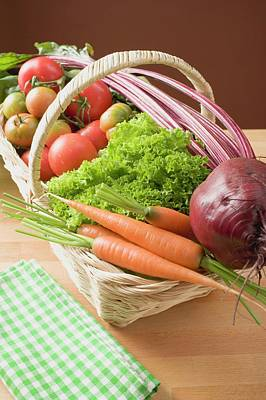 Fresh Carrots, Beetroot, Lettuce And Tomatoes In Basket Art Print