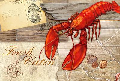 Oyster Painting - Fresh Catch Lobster by Paul Brent