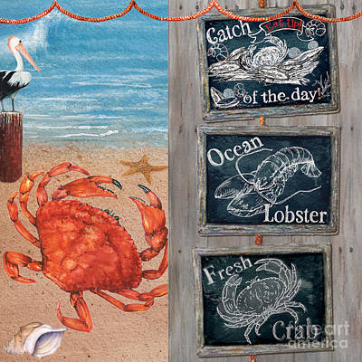 Painting - Fresh Catch Seaside Blackboard Signs by Sher Sester