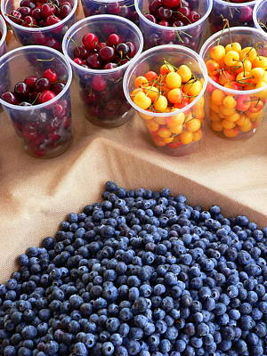 Photograph - Fresh Cherries And Blueberris by Jeff Lowe