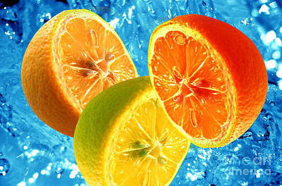 Chopped Photograph - Fresh Citrus Background by Michal Bednarek