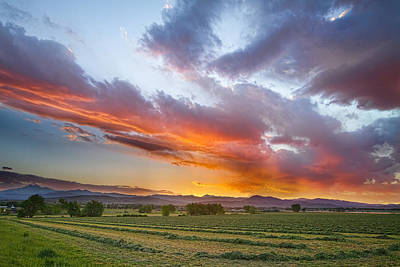 Bo Insogna Photograph - Fresh Cut Hay And Colorful Sky by James BO  Insogna