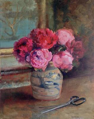 Flo Painting - Fresh Cut Peonies by Linda Dunbar
