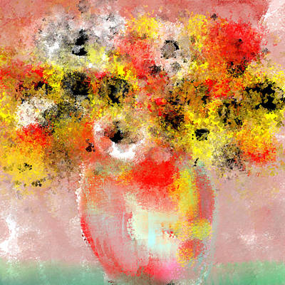 Painting - Fresh Flowers In Red White And Yellow by Jessica Wright