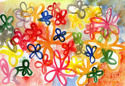 Abstract Flower Wall Art - Painting - Fresh Flowers by Linda Woods