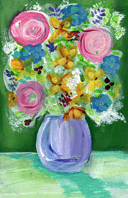 Fresh Flowers- Painting Art Print by Linda Woods