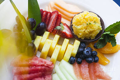 Photograph - Fresh Fruit On A White Plate. by Don Landwehrle