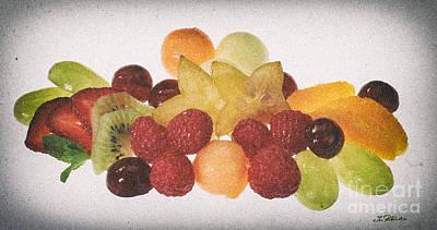 Fresh Fruit Salad Distressed Art Print