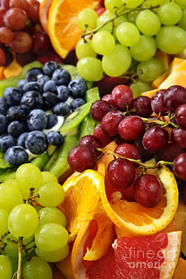 Platter Photograph - Fresh Fruits by Elena Elisseeva