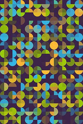 Vintage Digital Art - Fresh Geometric Circle Pie Vertical Pattern by Frank Ramspott