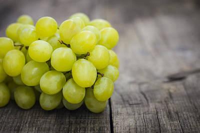 Fresh Green Grapes Art Print by Aged Pixel