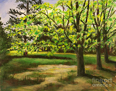 Nature Center Painting - Fresh Green Spring by Janet Felts