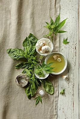 Fresh Ingredients With Marijuana Art Print by Lew Robertson