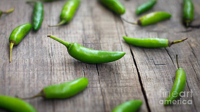 Food And Beverage Royalty-Free and Rights-Managed Images - Fresh jalapenos chili pepper by Aged Pixel