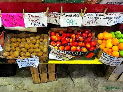 Fresh Kiwi Nectarine And Orange Art Print by Buzz Coe