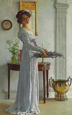 Interior Still Life Painting - Fresh Lavender by William Henry Margetson