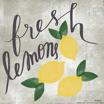 Lemon Painting - Fresh Lemons by Katie Doucette