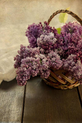 Fresh Lilacs In Brown Basket Print by Jaroslaw Blaminsky