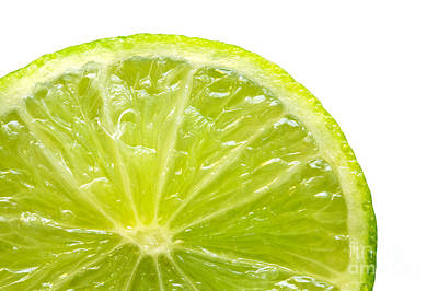 Sour Photograph - Fresh Lime Isolated On White Background by Michal Bednarek