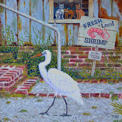 Art Print featuring the painting Fresh Local Shrimp  by Dwain Ray