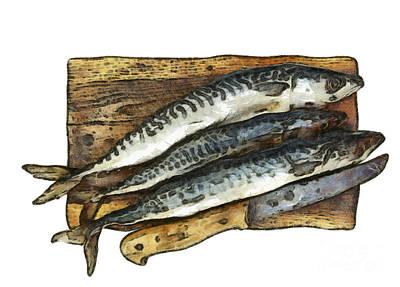 Fresh Mackerel On Chopping Board Art Print