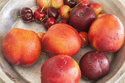 Photograph - Fresh Nectarines Plums And Cherries by Rich Franco