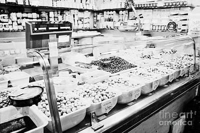 fresh olives for sale inside the la boqueria market in Barcelona Catalonia Spain Art Print by Joe Fox