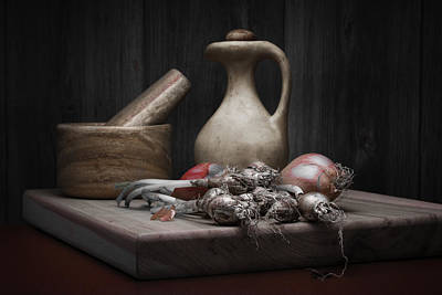 Pottery Photograph - Fresh Onions With Pitcher by Tom Mc Nemar