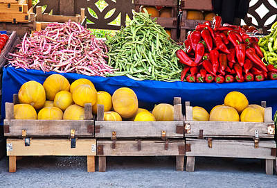 Fresh Organic Fruits And Vegetables At A Street Market Art Print by Leyla Ismet