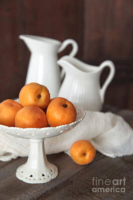 Photograph - Fresh Peaches In Bowl On Old Brown Table by Sandra Cunningham