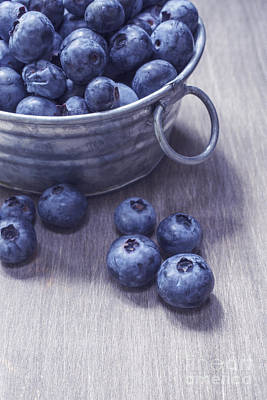 Wooden Bowls Photograph - Fresh Picked Blueberries With Vintage Feel by Edward Fielding