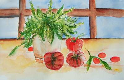 Fresh Picked Tomatoes And Basil Art Print by Elaine Duras