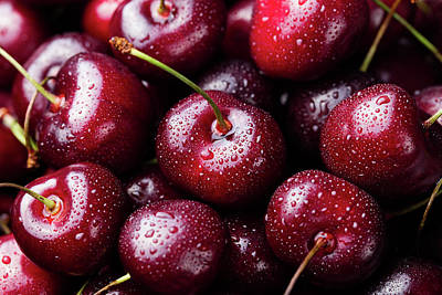 Close Up Photograph - Fresh Ripe Black Cherries Background by Anna Pustynnikova